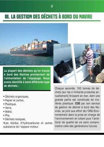 Gestion des déchets à bord du navire