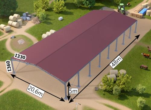 Galvanized steel framed building + roofting sheets with gal