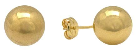 Gold balls stud earrings in all karats,size from 2.5 to 12mm