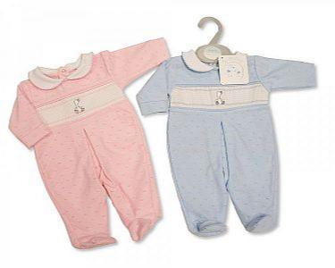 Pyjama bébé smocké en coton avec nœud - Caneton