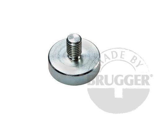 Flat pot magnets NdFeB, with external thread, galvanized