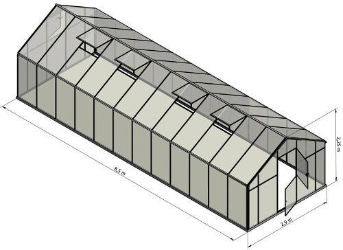 Szklarnia Sanus XL-24 2,9x8,5m H=2,25cm 24m2 poliwęglan 6mm