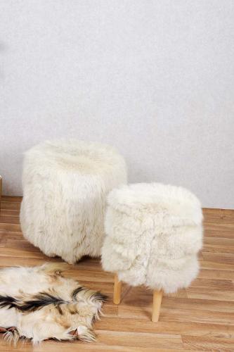 Real White Fur Stool