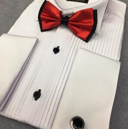 Pleated tuxedo shirts for men