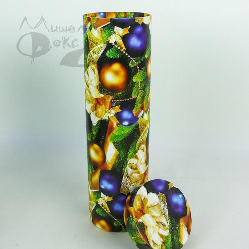 Подарочная коробка (тубус под бутылку) золотые и синие...