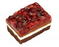 Raspberry-vanilla cream cake, pre-cut