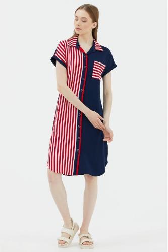 New Season Striped Shirt Dress
