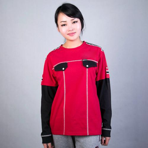 China supplier custom women t shirt with embroidery badge an