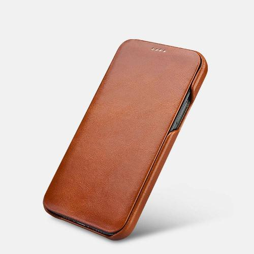 Icarer Iphone 12 Mini (5.4) Case Curved Edge Vintage Folio Brown