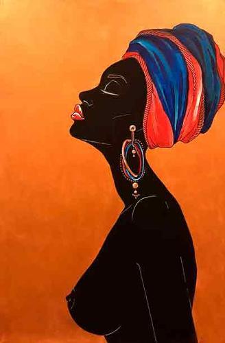 Pintura de arte africano realizado a mano sobre lienzo. Erót