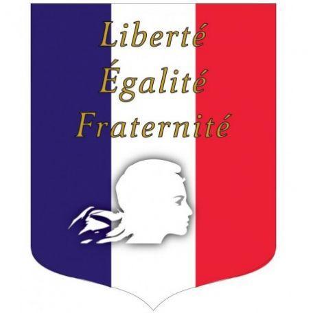 Écusson Porte-drapeaux Tricolore + Liberté Égalité Fraternité Gamme Éco