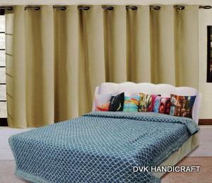 Indigo blue block printed kantha quilt, India kantha quilt