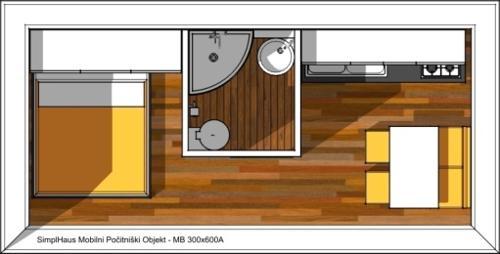 Mobilna hiša 300x600 tloris