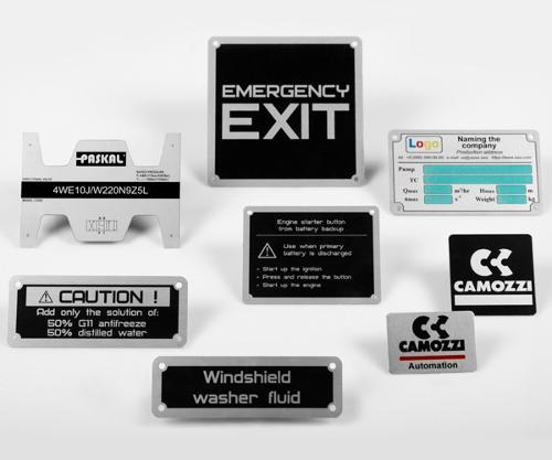 Anodized aluminum name plates