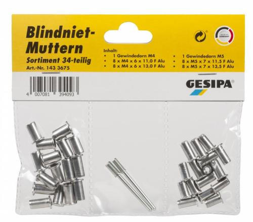 Blind rivet nut assortment