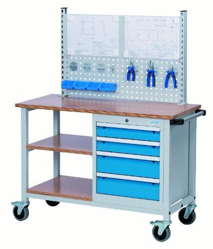 Mobile workbench T500 with shelves and drawers