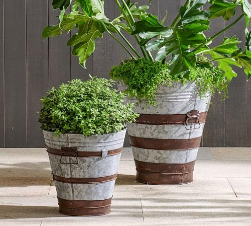 Handcrafted Galvanized Metal Planters