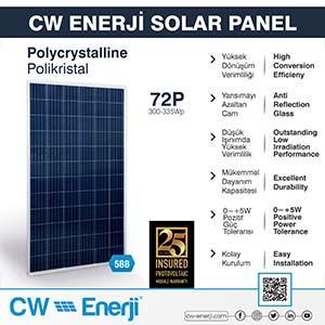 72 hücreli polikristal güneş paneli
