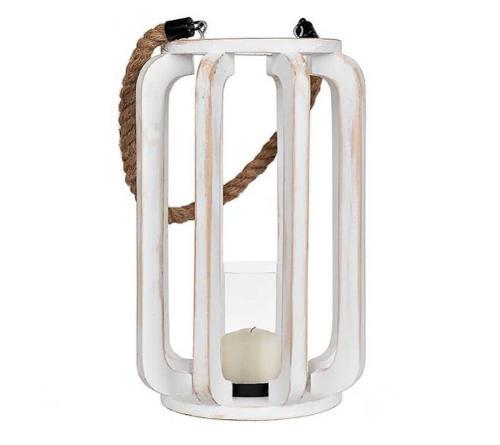 Retro White Wood Lantern Straw Rope Handle Glass Iron Base