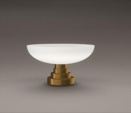 Glass bowl table lamp