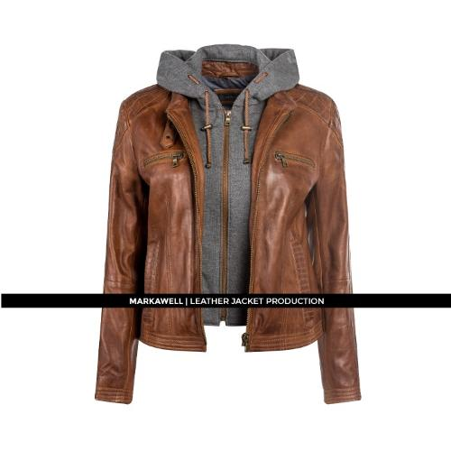 MW WOMAN HOODED LEATHER JACKET