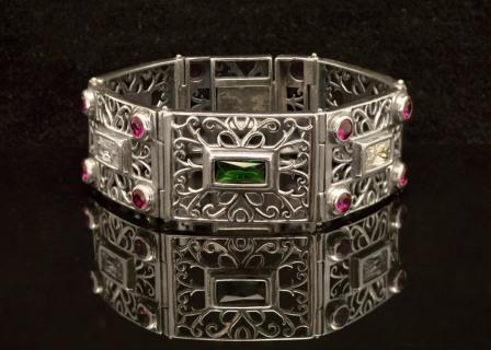 Byzantine Bracelet in Sterling Silver with Zircon (B-04)