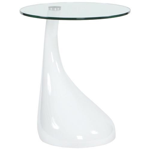 Table d'appoint TARN en fibre de verre trempé (blanc)