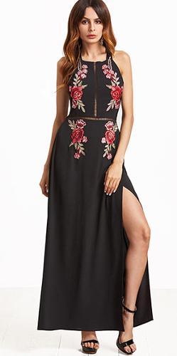 100% viscose embroidered dress