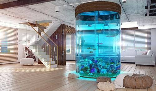 Aquarium acrylique rond, aquariums cylindriques