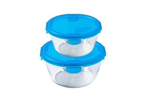 S-06169, Pyrex, Cook & Go Set Of 2 Round Storages 0.7+1.6l Citrus - Blue