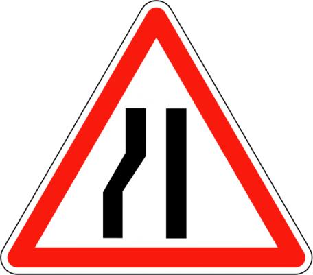 Panneau A3b Chaussée Rétrécie À Gauche