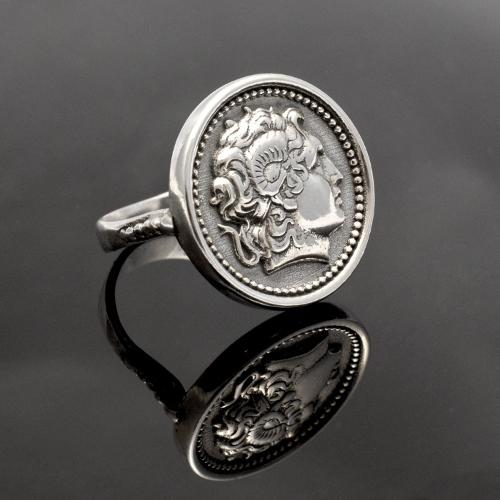 Alexander the Great Portrait Coin Ring in Sterling Silver, A