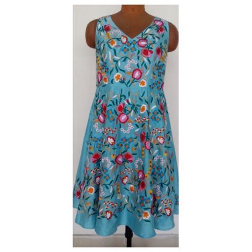 Silk Dupioni Embroidered Bridal Dress - Custom Made