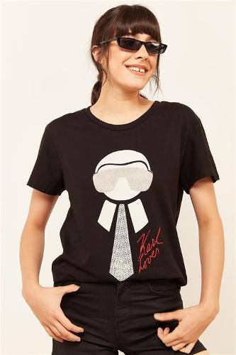 Women Black Stone And Printed T-shirt