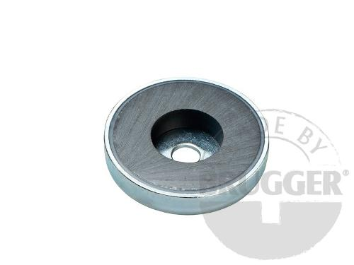 Flat pot magnets hard ferrite, with cylinder bore