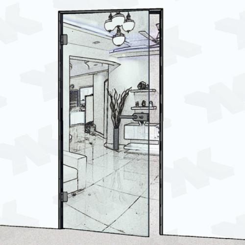 Angular single acting door frame, for ISO 18 mm glass
