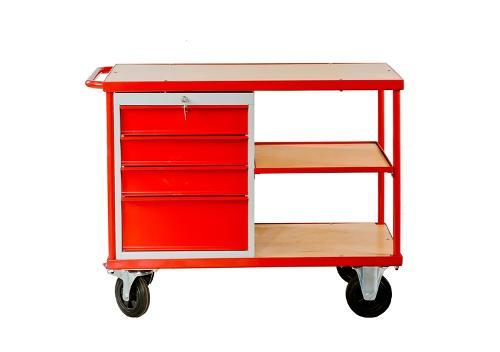 Der mobile Arbeitstisch mit  Schubladen