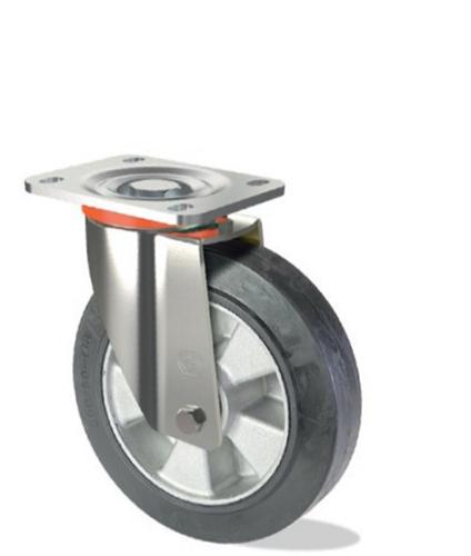 Heavy duty elastic rubber wheel with aluminium centre
