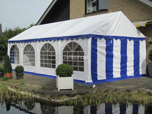 Partyzelt PVC 4x8m blau-weiß wasserdicht