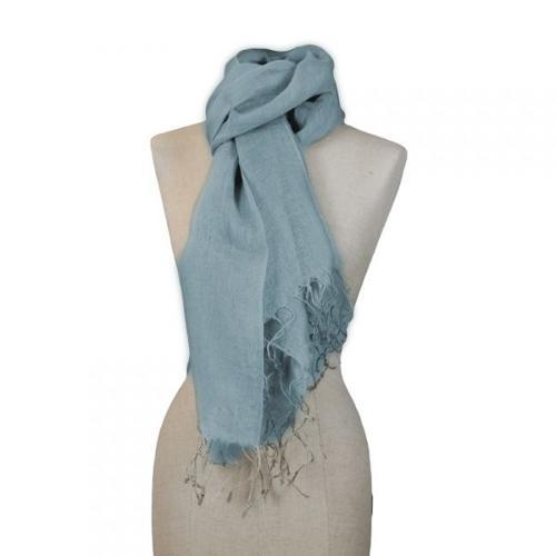 Sciarpa Azzurra In Canapa Handmade