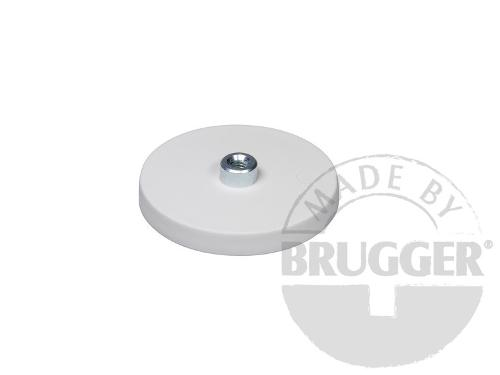 Magnet assembly, NdFeB, rubber coat white, with screwed bush