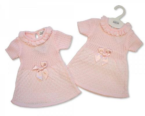 Spanish Style Knitted Baby Dress with Bow