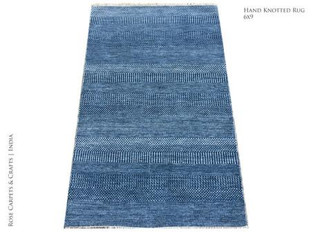 Indian Hand Woven Contemporary Rug in Wool & Silk