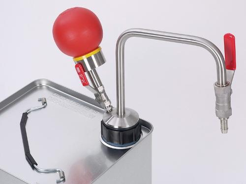 Solvent pump hand operated, for tin-foil canisters