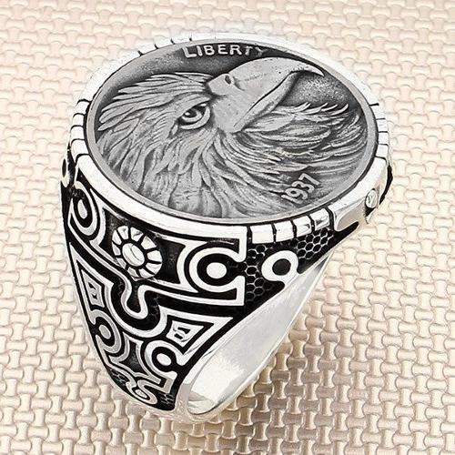 925 sterling silver eagle coin ring