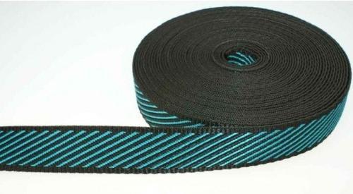 10 m PP Gurtband schräg gestreift - Farbe: Schwarz /...