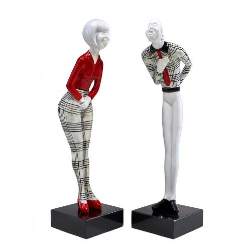 Set de 2 statues sculptures COUPLE en résine H48 cm