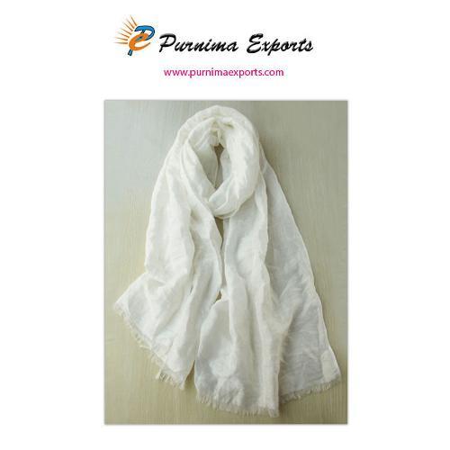 Foulard en soie et lin blanc