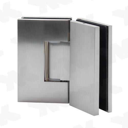 Shower door hinge glass-glass 135°, with cover, opening on both sides