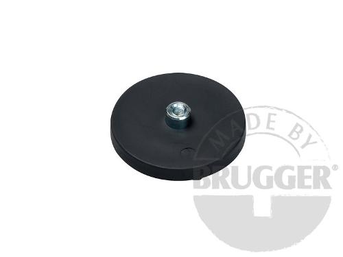 Magnet assembly, NdFeB, rubber coat black, with screwed bush